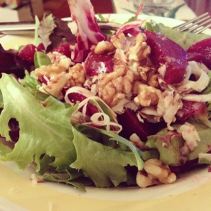Pickled Beets, Walnuts, Sartori Cheese and Herb Salad Mix. Divine.