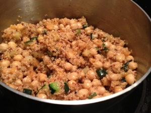 Quinoa melange with added chickpeas. Nom!