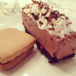 Peanut butter cookie with chocolate and a chocolate silk pie.