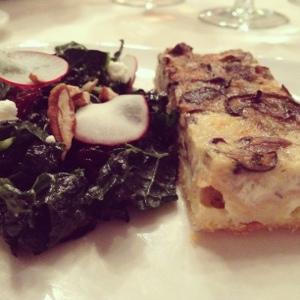Kale salad with mushroom tart.