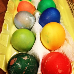Vibrant eggs: just add less water to the dye.