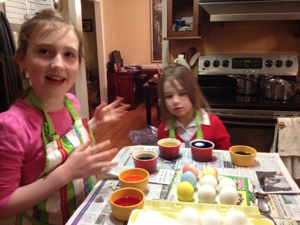 Sure we dyed eggs at the very last possible minute. Completely worth it.
