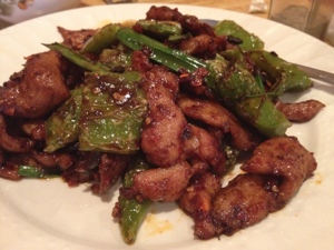 Twice cooked pork at Superwok. Yes, those are roasted peppers. Yes, they are hot.