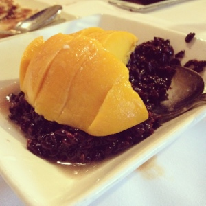 Sticky Rice with Mango from Banana Leaf