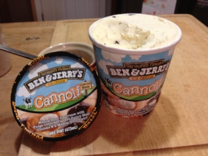 This should be called Holy Cannoli because the mascarpone slaps you. (Cannoli Ice Cream from Ben and Jerry's)