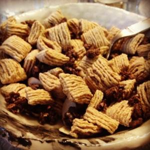 Trader Joe's Chocolate Almond Granola plus Oatmeal Squares, a morning blend.