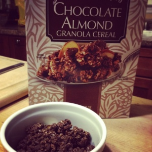 My current cereal addiction: Chocolate Almond Granola from Trader Joe's