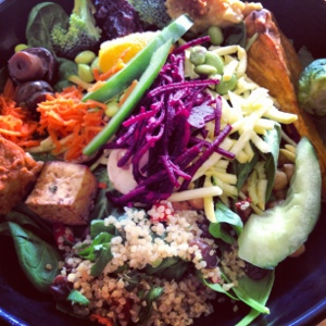 Quinoa can add flavor, and is typically already dressed. Whole Foods Salad.