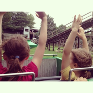 Wave your hands in the air like you just don't care. (Goldrusher at Carowinds)