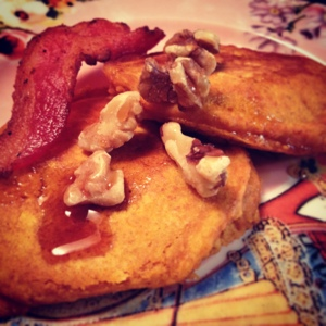 Adaptable Pumpkin Pancakes with a side of bacon and walnuts. Winning!