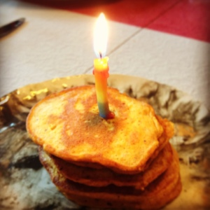 Adapatable Pumpkin Pancakes Stack, Birthday Style.