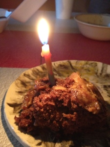 German Chocolate Cake Slice, Birthday Style