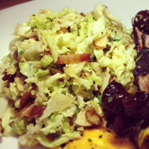Savoy cabbage with bacon and almonds from G2B.