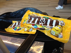 Don't leave home without Peanut M & M's.