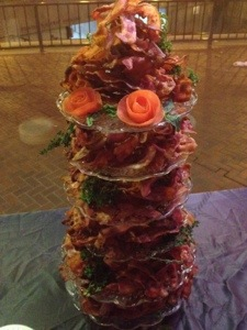 This Tower of Bacon was featured in a recent party I threw for work. Though there is parsley present, it is not a salad.