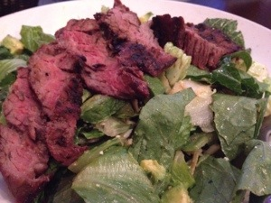 Lunch salad from Chevy's Mexican with avocado and steak. Yes please.