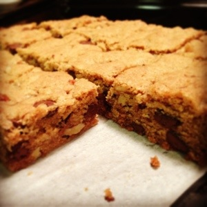 Mildly doctored blondies: wasn't blown away by this mix, better from scratch. But they are pretty.