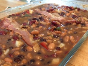 Beer and Bacon Baked Beans before the oven!