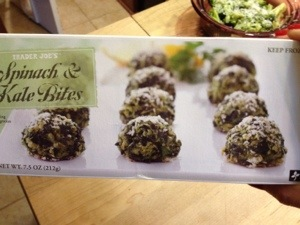 Don't miss these Kale and Spinach Bites from Trader Joe's. I'm working on a recipe now.