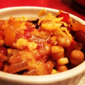 Veggie chili, now with chickpeas.