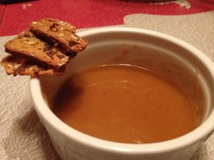 Pumpkin crisps atop, wait for it, pumpkin soup from Trader Joe's. TPC's Jr are pretty much over it.