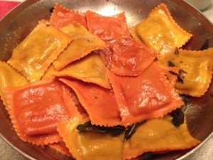 Trader Joe's Pumpkin Ravioli with Brown Butter and Sage--Nom!