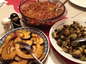 Sometimes I struggle to stop cooking once I start: 3 side dishes for Sunday dinner? Sure. (Green Bean Casserole, Roasted Brussels Sprouts, Acorn Squash with Maple Syrup)